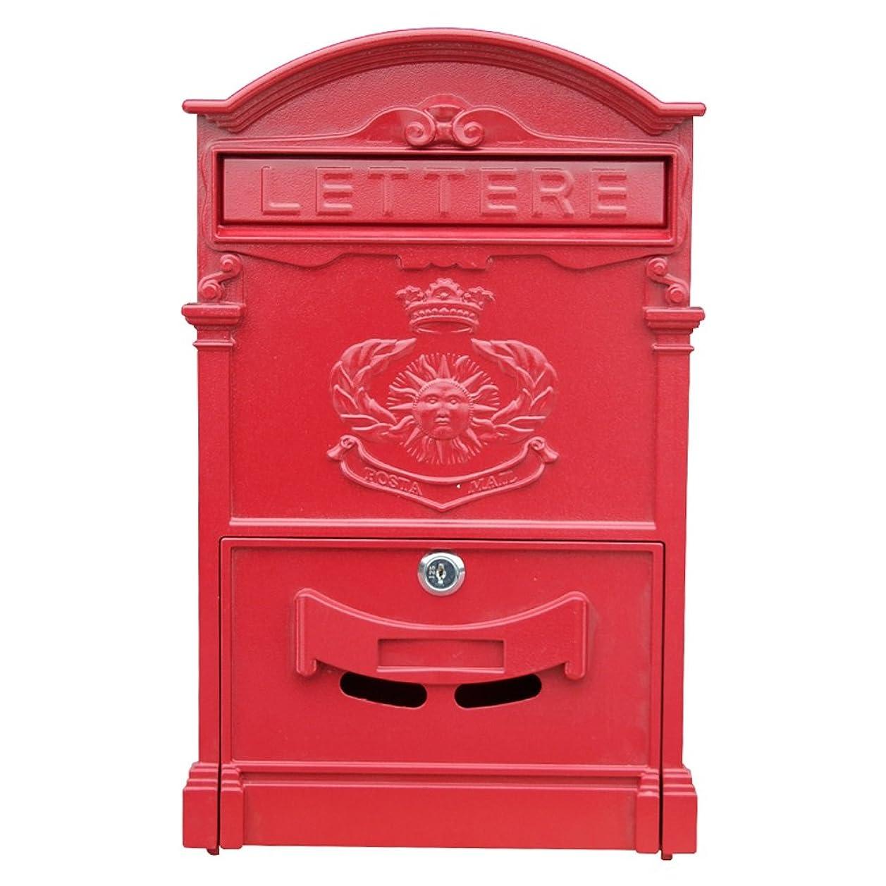 劇場発明キャンペーンGLJJQMY ヨーロッパのメールボックスヴィラのメールボックスロックの壁のレトロメールボックス防水大型新聞ボックスと屋外クリエイティブ鍛造鉄 メールボックス (色 : Red)