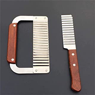 YFOX Déchiqueteuse Anti-Rides,Couteau ondulé avec Manche en Bois,Coupe-Salade en Acier Inoxydable,utilisé pour Couper Les ...