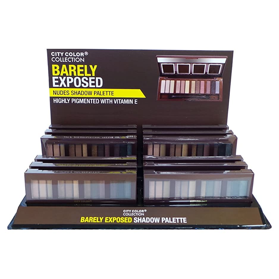 ラケットブレンド有用CITY COLOR Barely Exposed Nudes Shadow Palette - Day/Night 12 Colors Display Case Set 12 Pieces (並行輸入品)