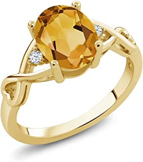 Gem Stone King Yellow Citrine and White Topaz 18K Yellow Gold Plated Silver Women's Ring (1.55 Cttw Oval Cut, Available 5,6,7,8,9)