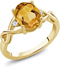 Gem Stone King Yellow Citrine and White Topaz 18K Yellow Gold Plated Silver Women's Engagement Ring (1.55 Cttw Oval Cut, A...