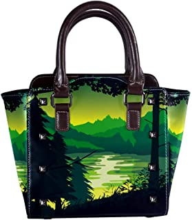 Leather Handbags Tote Satchel Purse with Shoulder Strap for Women Girls Ladies with Landscape Of Forest And Lake