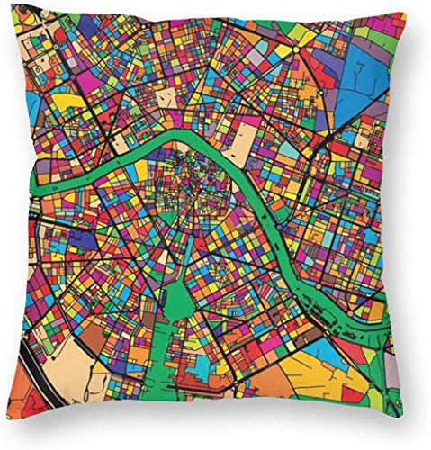 Valencia Mapa colorido Funda de almohada Funda de almohada única Cojines creativos Fundas con cremallera Funda de almohada con estampado decorativo para el hogar para sofá Sofá , (16 'x16' / 40x40cm)