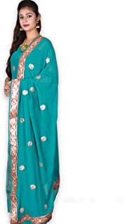 Kasturi-B Women's Green Pure Silk Crepe Gota-Patti 3pc Suit