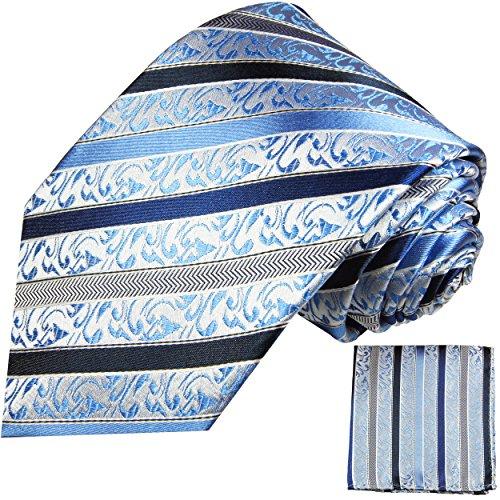Cravate homme bleu rayée ensemble de cravate 2 Pièces ( 100% Soie Cravate + Mouchoir )