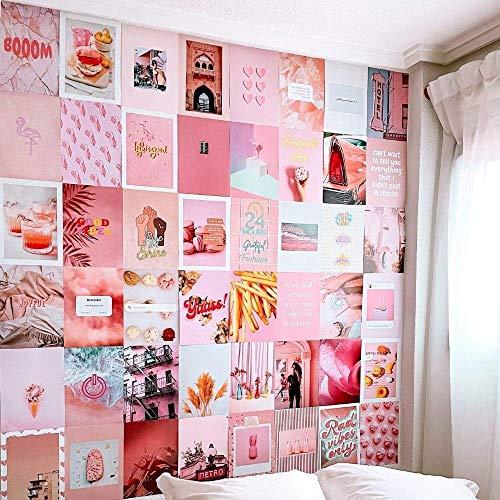 Flamingueo Decorazioni Parete - 50 Foto Decorazioni Camera da Letto Ragazza, Aesthetic, Decorazione Parete, Accessori Camera da Letto, Decorazioni Camera, Aesthetic Room Decor (Pink Island)