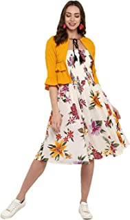 DEEBACO Women's Floral Dress with Jacket - (White, Yellow, Red)