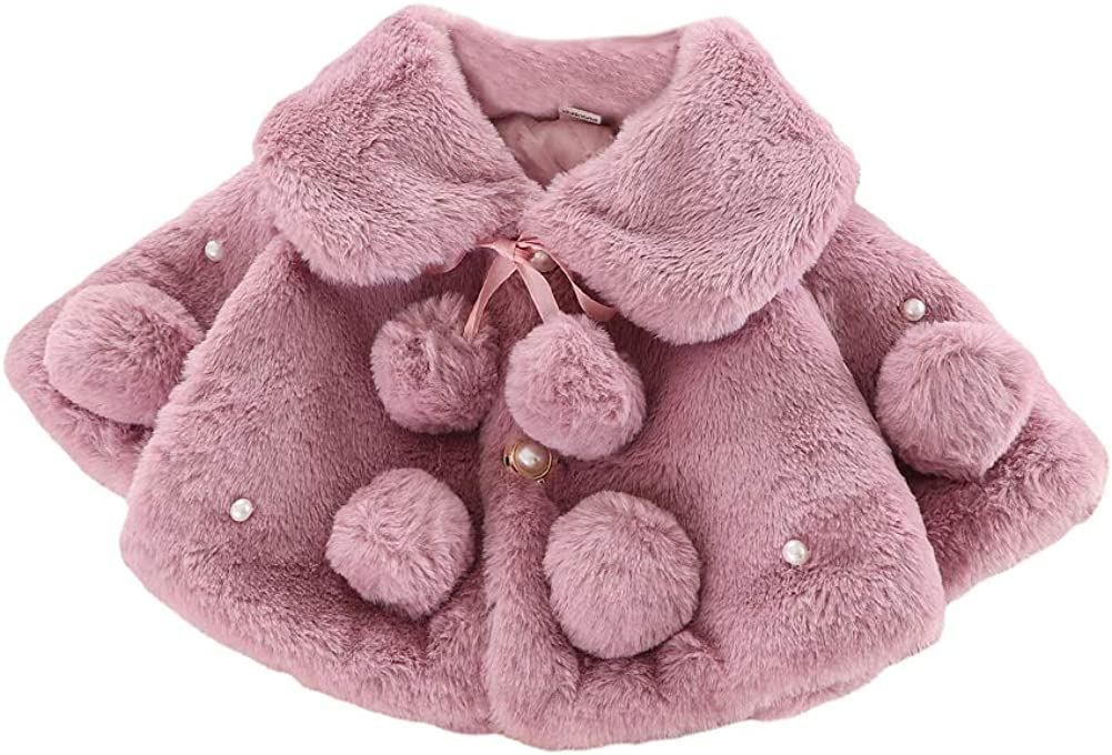 MoccyBabeLee Infant Baby Girls Coat Faux Fur Long Sleeve Cape Cloak Jackets Outwear Warm Winter Clothes
