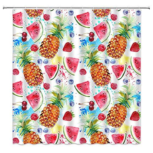 Sommer-Duschvorhang, Wasserfarben, Ananas, Wassermelone, Heidelbeere, tropische Früchte, Hawaii, exotischer Polyester-Stoff, Gardinen für Badezimmer mit Haken