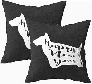 Ducan Lincoln Pillow Case 2PC 18X18,Funda De Almohada De Arte,Fundas De Funda De Almohada De Tiro Cuadrado Inscripción De Silueta De Perro Dentro De Feliz Año Nuevo 2018 Cojín De Ambos Lados