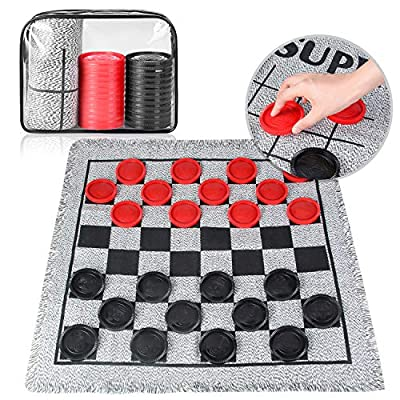 3 in 1 Giant Checkers Game Set,Tic Tac Toe Board for Kids with Reversible Rug Indoor Outdoor Yard Game for Family and Party