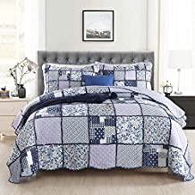 Handmade Patchwork Bedspread Throw 100% Cotton Quilted Quilt Coverlet 3 Piece Bedding Double King Size Multifunction All S...
