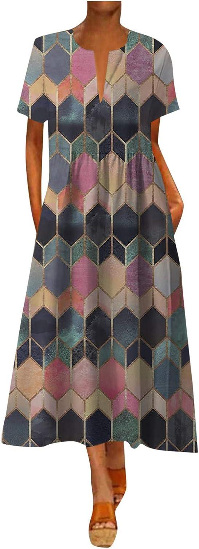 Maxi Dress for Women Plus Size Summer Casual Sleeveless Tank Long Dress Vintage Bohemian Beach Dresses