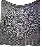 raajsee Indisch Psychedelic Mandala Schwarz & weiß Wandteppich/Indien Elefant Boho Wandtuch Hippie Wandbehang 82x92 Inches