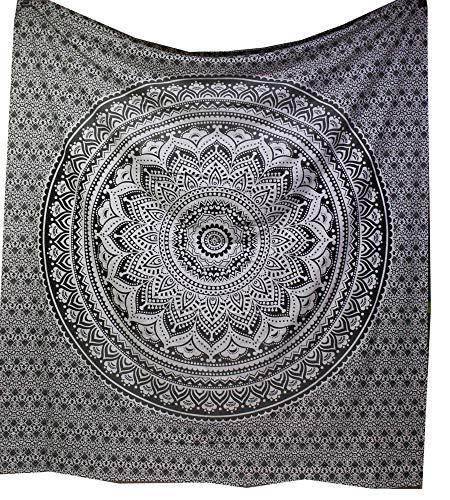 raajsee Indisch Psychedelic Mandala Schwarz und weiß Wandteppich/Indien Elefant Boho Wandtuch Hippie Wandbehang 82x92 Inches