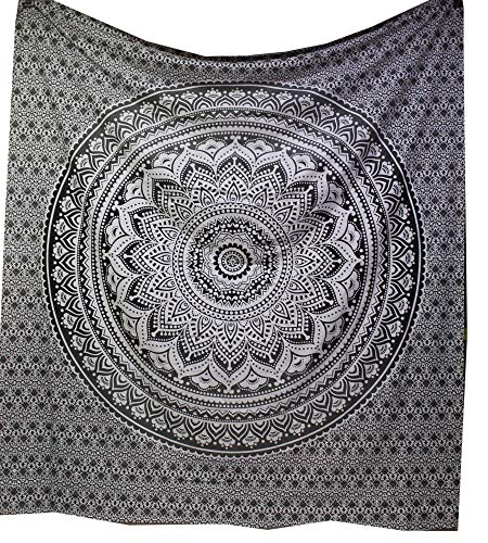 raajsee Indian Tapestry Mandala Ombre Tapestry Hippie Psychedelic Wall Hanging, Elephant Boho Indian Cotton Wall Cloth Oriental (Grey)