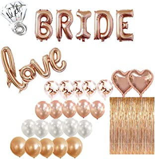 Bridal Shower & Bachelorette Party Decorations kit Rose Gold – 1 Fringe Curtain, 1 BRIDE balloon, 1 Love balloon, 1 ring balloon, 2 Heart balloons, 5 Rose Gold 5 Blush Pink 5 White 5 Confetti balloons