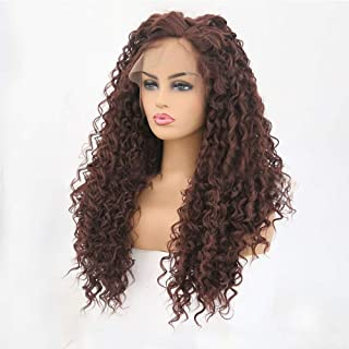 Hair Extension Weave Fashian African Small Curly Hair Front Lace Wig Brown Small Wave Long Hair Wig Beautiful Hairpieces (Color : Brown, Size : 22 inches)