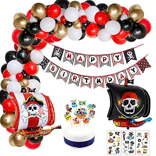 Décorations de Fête D'anniversaire de Pirate avec Bannière de Joyeux Anniversaire Ballons de Bateau de Pirate Tatouage Temporaire et Ballons en Latex pour Garçons Anniversaire, Fête, Halloween