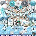 198 Piece Premium Jumbo Elephant Baby Shower Decorations for Boys Kit | It's A BOY | Banner, Napkins, Straws, Paper Lanterns, Honeycomb Balls, Fans, Cake Toppers, Sash, Balloons | Blue Grey White