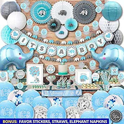 198 Piece Premium Jumbo Elephant Baby Shower Decorations for Boys Kit | It's A BOY | Banner, Napkins, Straws, Paper Lanterns, Honeycomb Balls, Fans, Cake Toppers, Sash, Balloons | Blue Grey White