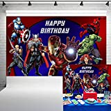 Avengers Birthday Party Supplies Backdrop 5x3ft Superhero Theme Background Photography for Kids Boys Birthday Party Banner Decorations Photo Booth Props 38