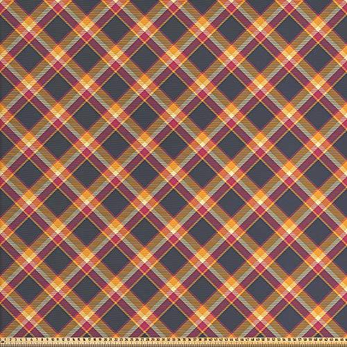 ABAKUHAUS Schotse ruit Stof per strekkende meter, British Country Style, Decoractieve Stof voor Stoffering en Interieuraccent, 2 m, Charcoal Grey Marigold