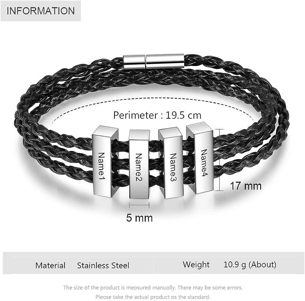 Grand Made Personnalis/é hommes 1-8 nom Bracelet grav/é argent bracelet tress/é PU cuir cadeau pour famille p/ère papa mari adulte amiti/é BFF