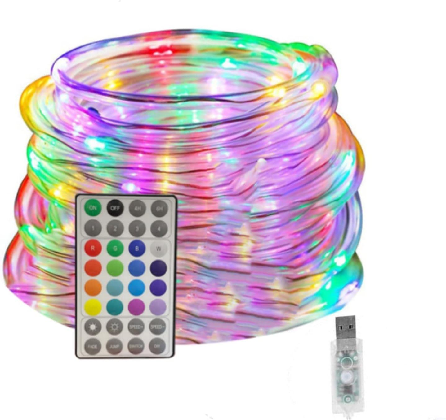 Tira de luz LED, 10 m, 16 colores, luces LED para trampolín, USB, resistente al agua, 4 modos, colores para exteriores, con mando a distancia, para jardín, trampolín, balcón, Navidad, boda, fiesta