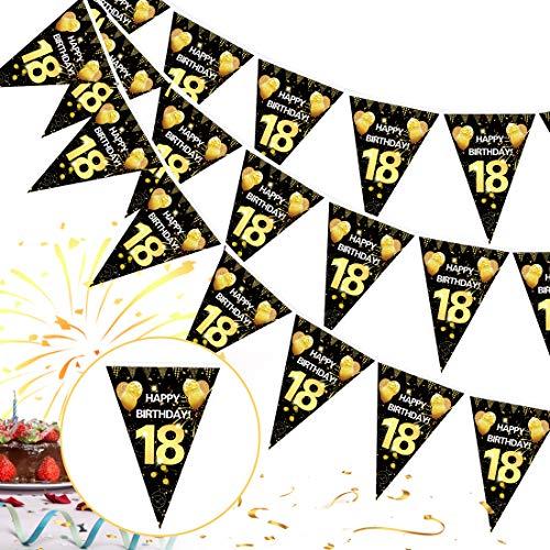 18. Geburtstag Girlande Banner,18er Geburtstag Schwarz Gold Wimpel Banner,18 Geburtstag Wimpelgirlande,18 Jahre zum Birthday Aufhängen Wimpelkette,18 Geburtstag Deko Wimpel für Mädchen Junge