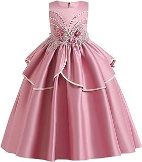 JTSYUXN Blumenmädchen-Spitzenkleid for Kinder Hochzeit Brautjungfer-Wettbewerb Party Feierliches Langes Kleid Prinzessin Kommunion Perlenkleider Color : Dusty Pink, Size : 9-10 Years