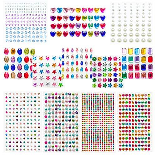 Honmax Diamantes Autoadhesivas, 1309 pieza Pegatinas de Diamantes de Imitación para Niños DIY, Joya de Cristalino Decoraciones para Cara Ojos, Gemas Diamantes para Manualidades Decoraciones, 12 hoja