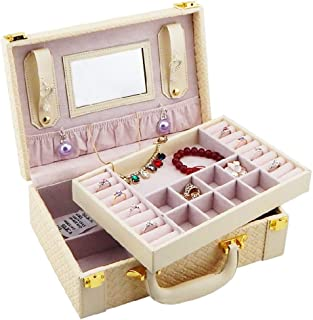 OMAS Multifunctional Two Layer Woven Leather Jewelry Box Organizer with Handle PU
