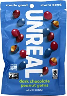 UNREAL Dark Chocolate Peanut Gems | Non-GMO, Vegan Certified, Colors from Nature | 1 Bag