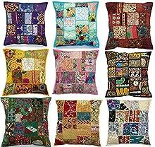 10 fundas de cojín bordadas con diseño de Sari, 43 x 43 cm, hechas a mano, con mosaico de Sari, diseño hindú y étnico