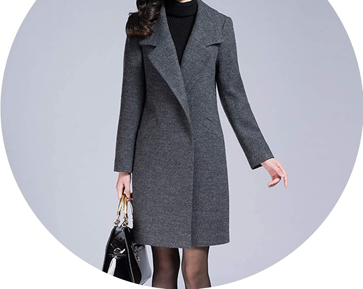 Dreamedge Winter Women Woolen Jacket WideWaisted Covered Button Women Wool Coats and Jackets