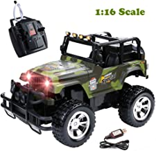 Radio Remote Control Big Foot Wrangler Vehicle 1:16 Scale RC Off Road Military Fighter Jeep RC Truck Cars for Kids Rock Crawler with Lights Sounds