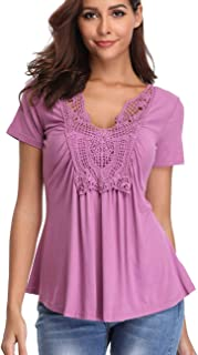 Womens Short Sleeve Shirt V Neck Ruched Pleated Front Casual Lace Tops