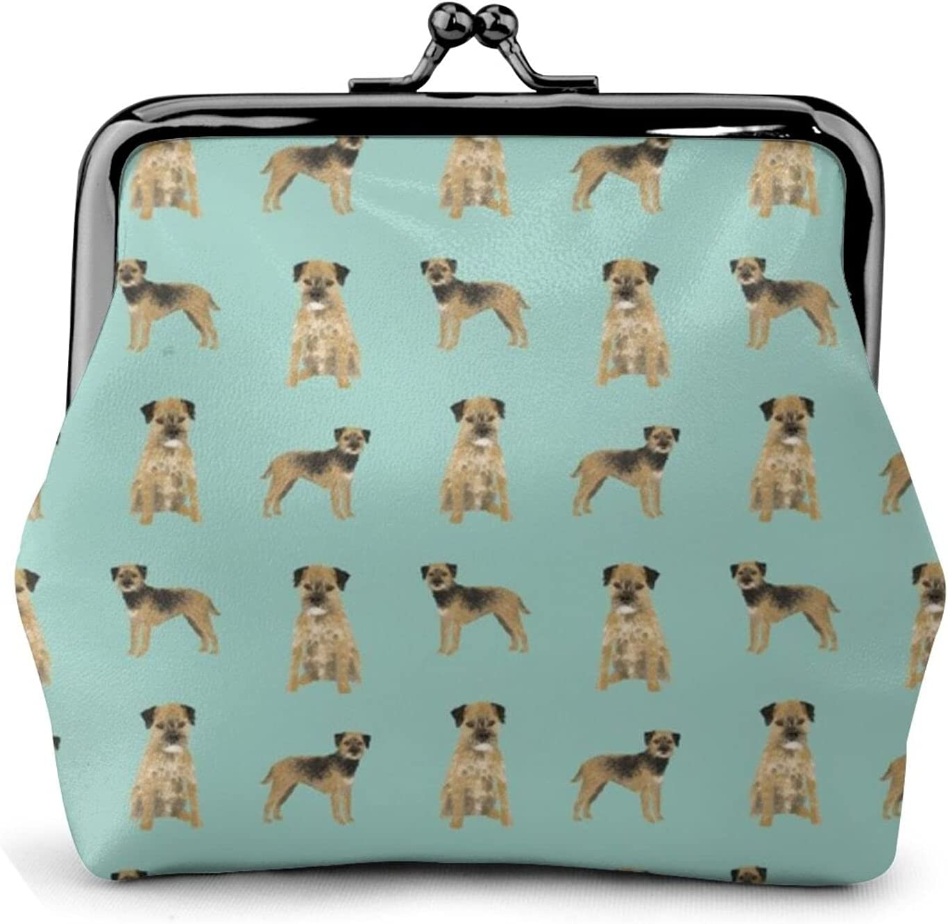 Border Terrier Dog 891 Women'S Wallet Buckle Coin Purses Pouch Kiss-lock Change Travel Makeup Wallets, Black, One Size