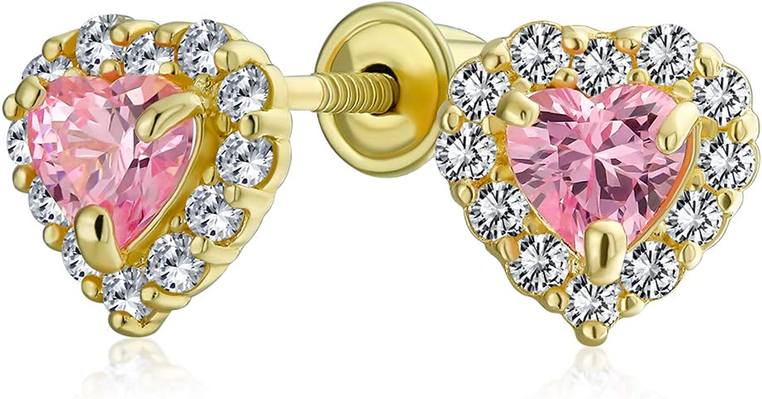 .25CT Tiny Cubic Zirconia Pink Heart Halo CZ Stud Earrings For Teen Simulated Topaz Real 14K Yellow Gold Screwback