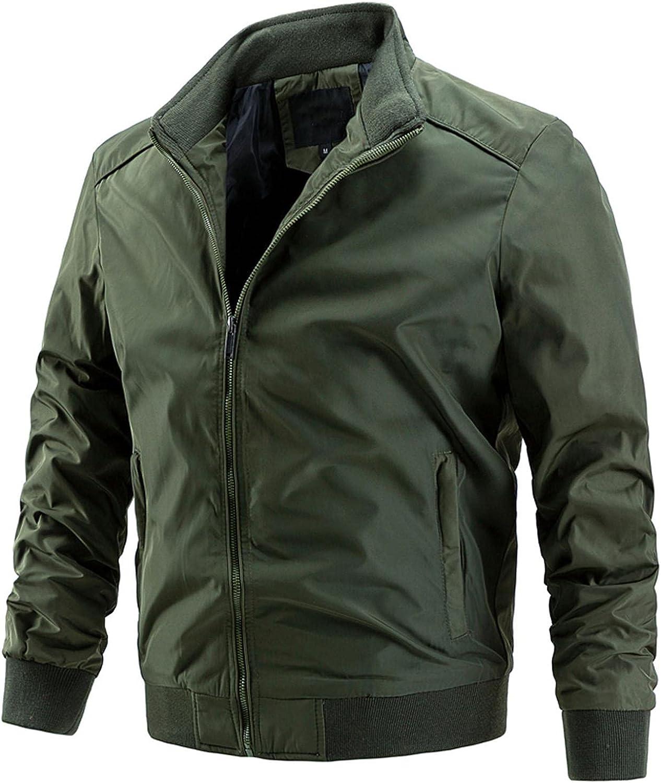 XUNFUN Men's Flight Bomber Jackets Lightweight Windbreaker Full Zip Solid Casual Thin Athletic Jacket Sportswear with Pocket