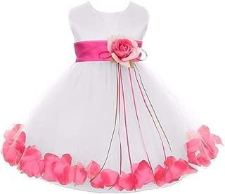 Little Baby Girls Sleeveless Satin Flower Petal Sash Infant Flower Girl Dress