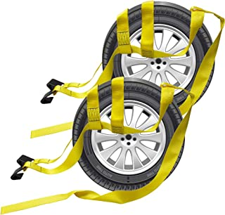 Bang4buck 2 Pieces Universal Adjustable Bonnet Tie Down System Wheel Straps for Demco Kar Kaddy Dollys with 2 Flat Hooks (Yellow-Rachet Strap)