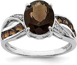 925 Sterling Silver Diamond Smoky Quartz Band Ring Stone Gemstone Fine Jewelry For Women Gift Set