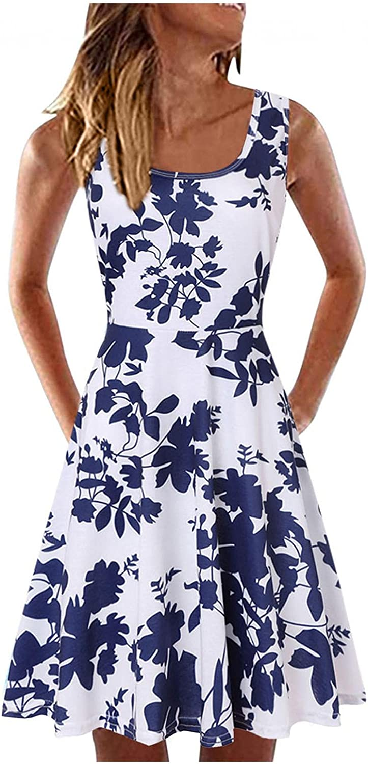 Gerichy Summer Dresses for Women 2021, Womens A-line Neck Floral Boho Dresses Casual Sleeveless Swing Mini Party Dress