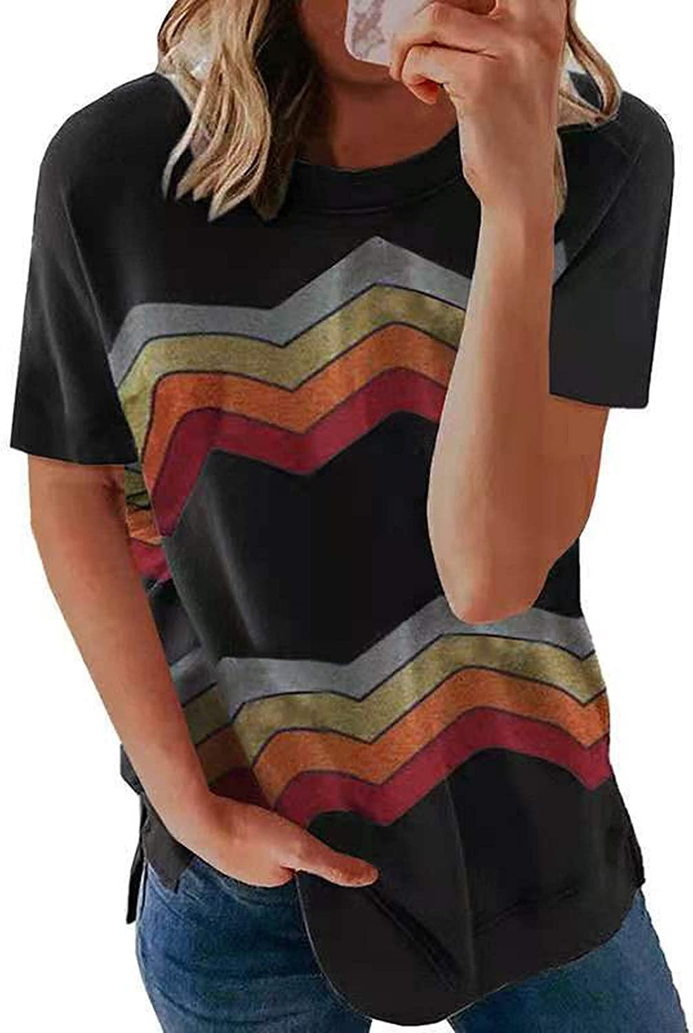 Women Quantity limited Graphic Tee Womens Short Sleeve Cas Shirts Crewneck Loose Limited price sale