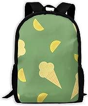 Backpack Lemon Ice Cream Zipper School Bookbag Daypack Travel Rucksack Gym Bag For Man Women