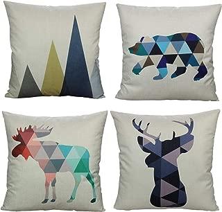 All Smiles Modern Bear Mountains Geometric Animals Throw Pillow Covers Retro Home Decor 18