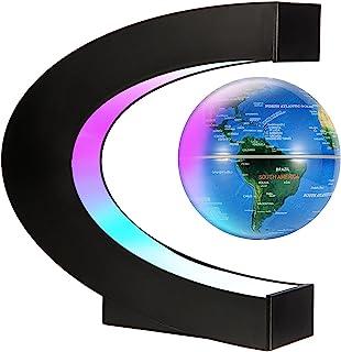 کره زمین شناور مغناطیسی Gresus Globe Map Globe با پایه C شکل ، Globe Globe با چراغ های LED ، Greathers Fathers Student معلم تجاری معلم دوست پسر دوست پسر هدیه تولد (آبی)