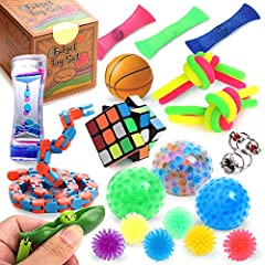 💖 Fidget Toy Bundle Variety - This complete sensory toy pack includes 2 flip chains, 1 liquid motion timer, 1 peek a boo squeeze beans, 3 marble and mesh, 6 stretchy strings, 3 bead stress balls, 6 spiky balls, 1 snap and click snake, 1 basketball st...